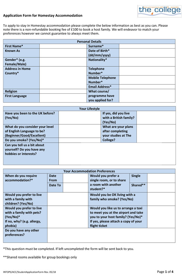Student Application Form for Homestay Accommodation