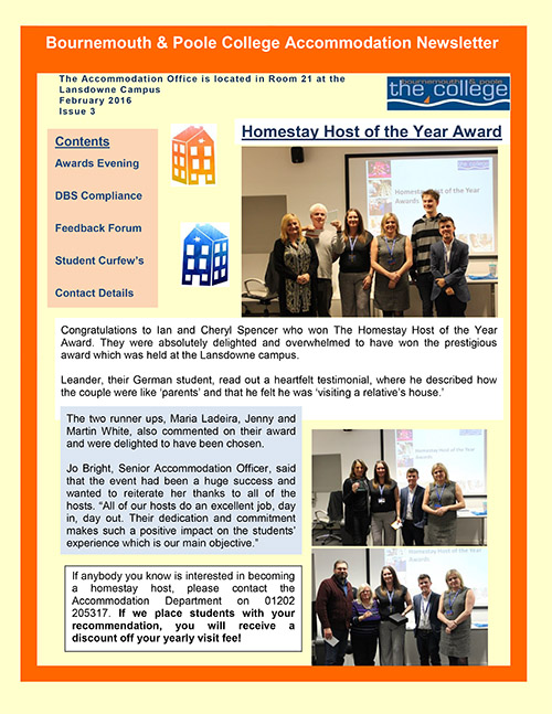 Accommodation Newsletter, Issue 3, February 2016