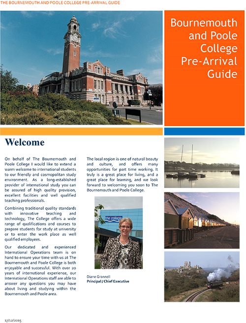 Bournemouth and Poole College Pre-Arrival Guide