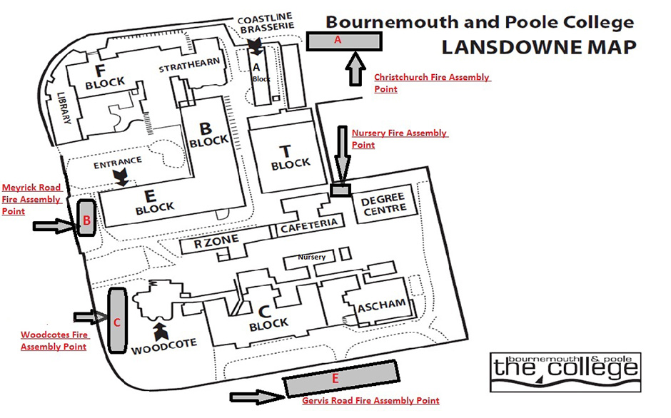 Lansdowne campus map, Bournemouth and Poole College