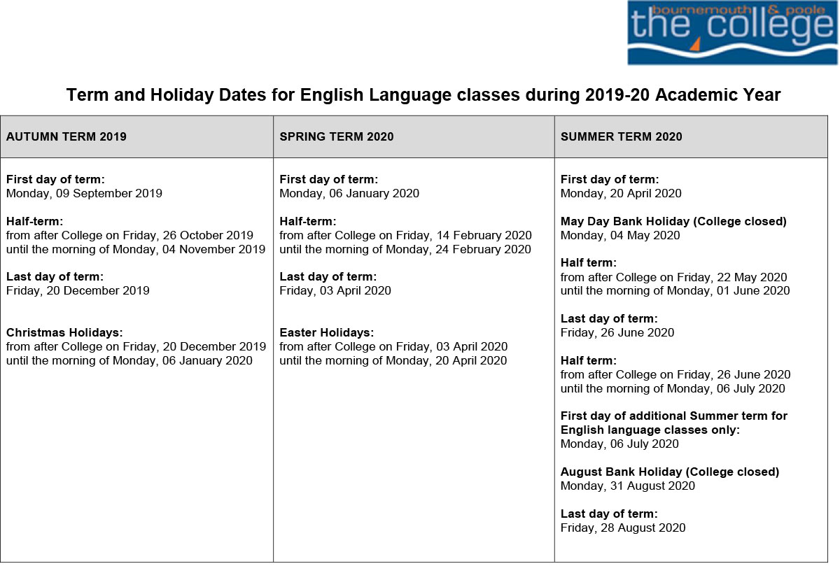 Term & Holiday Dates