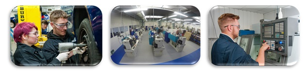 Students using the Engineering, Motor and Advanced Manufacturing facilities at Bournemouth & Poole College, Dorset
