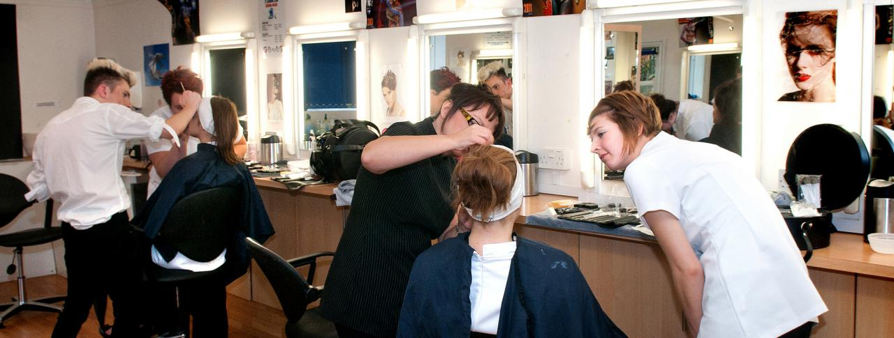 Bournemouth & Poole College students in a beauty lesson