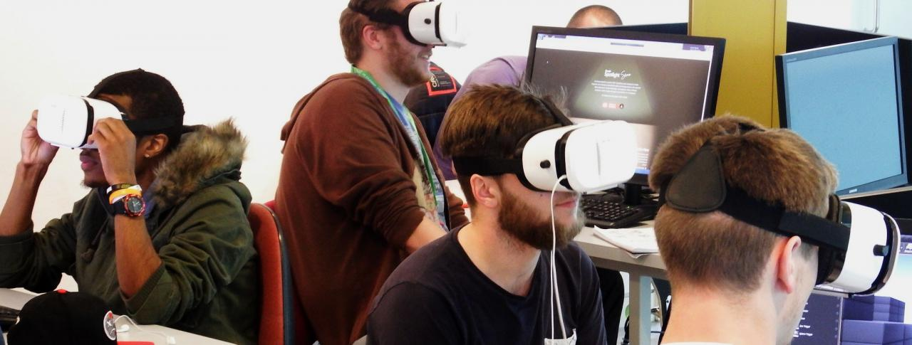 Students using virtual reality in the classroom