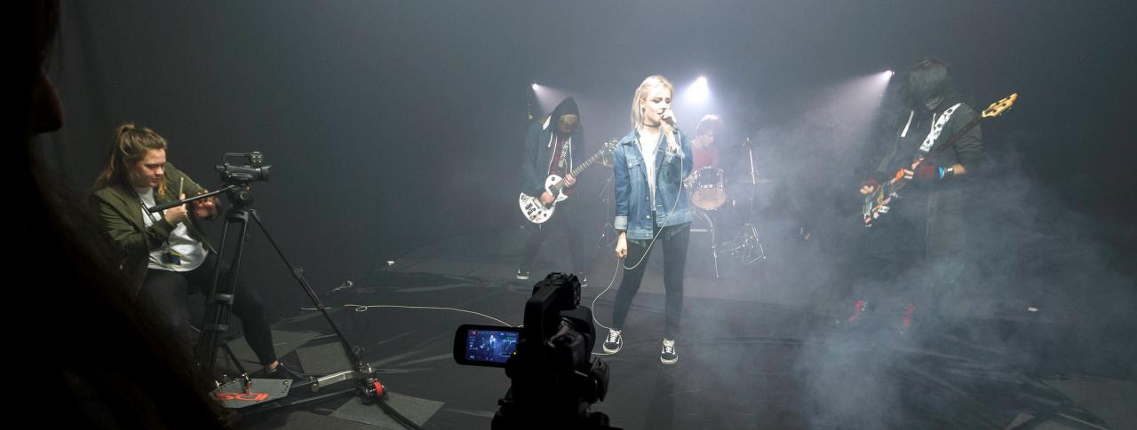 Students performing in music video