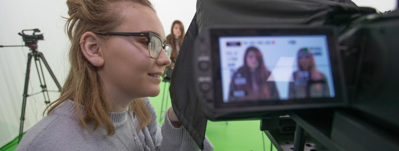 Media students using the green screen at The Bournemouth & Poole College, Dorset