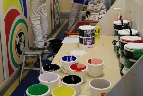 Paint cans in the workshop and The Bournemouth & Poole College