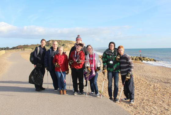 Students at Bournemouth beach