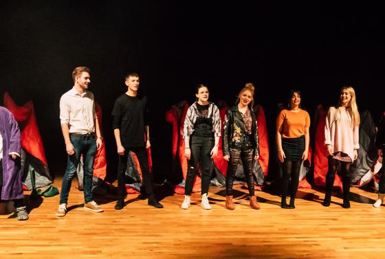 Student performers at the Jellicoe Theatre, Bournemouth & Poole College