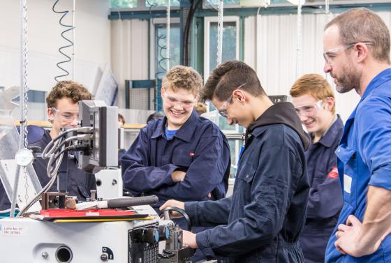 Students working and having fun at The Bournemouth & Poole College, Dorset.