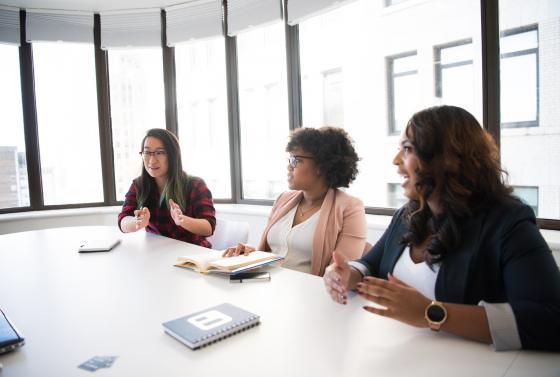 Three women in interview room