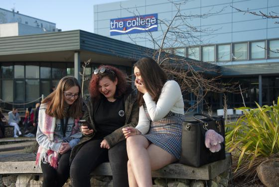 Students outside Bournemouth & Poole College North Road site