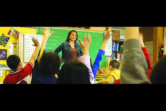 Teacher with a class