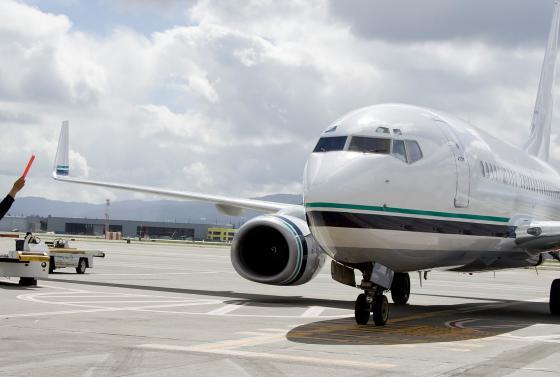 Plane crew turning signals