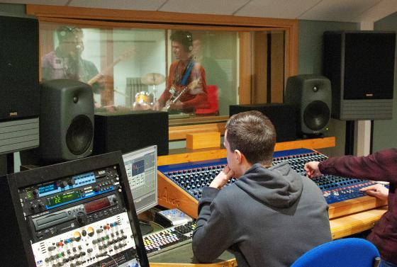 Music students in the studio at Bournemouth & Poole College