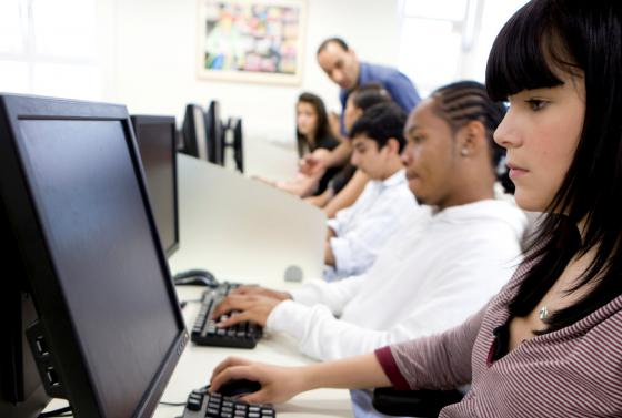 Computing students in classroom