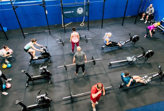 People working out in the CrossFit Gym at Bournemouth & Poole College