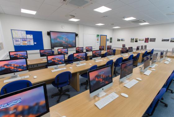 Access to Media students in Mac classroom at Bournemouth & Poole College