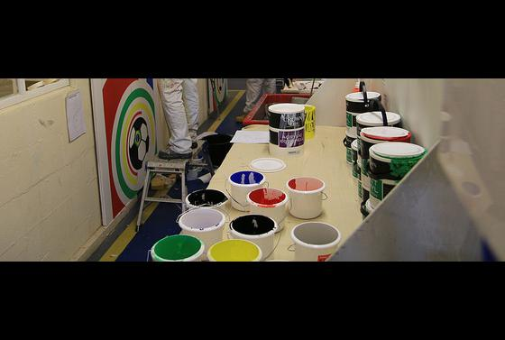 Students in painting and decorating workshop atg The Bournemouth & Poole College