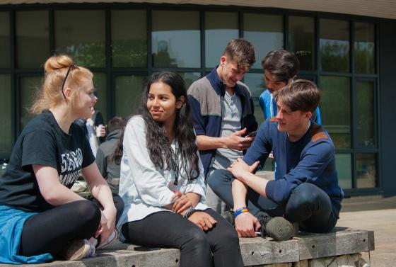 Students outside Bournemouth & Poole College