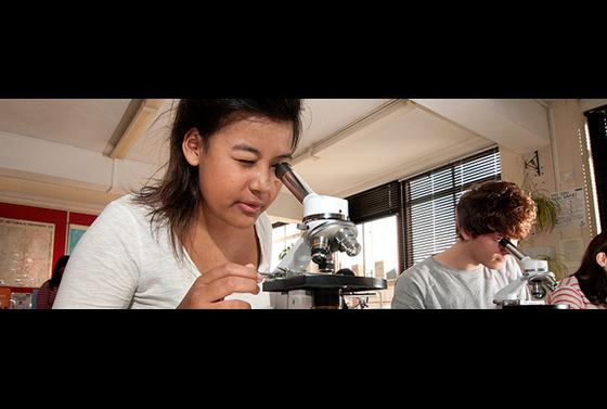 Bournemouth & Poole College students using microscopes