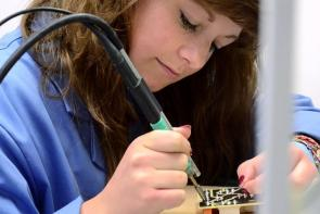 Electronics student using state-of-the-art equipment at The Bournemouth & Poole College