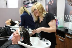 Hairdressing student in Flaunt Hair Salon at Bournemouth and Poole College