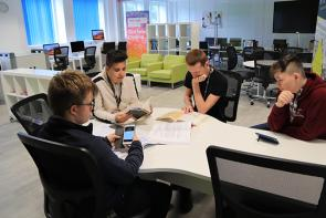 Students using the Digital Skills Centre