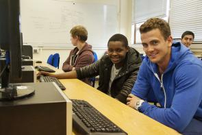 IT students in Bournemouth & Poole College's digital suite
