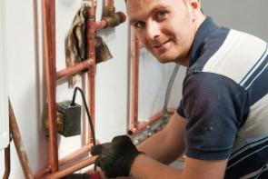 Plumbing student using specialist facilities