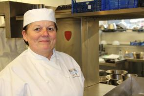 Professional Cookery student in training kitchen at Bournemouth and Poole College