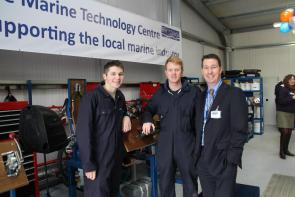 students and tutor in marine technology centre