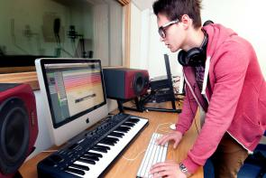 Student using recording facilities