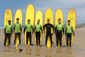 Students surfing in Cornwall