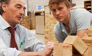 Brickwork tutor showing student at The Bournemouth & Poole College, Dorset.