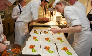 Students working in the Escoffier kitchen