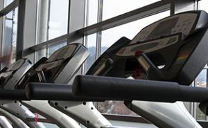 Treadmills within a gym.