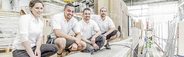Olivia Richards-Smith Louis Bridet Alex Spencer and Ben Hall Apprentices at Sunseeker