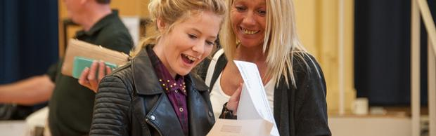 Mum and daughter getting A Level results