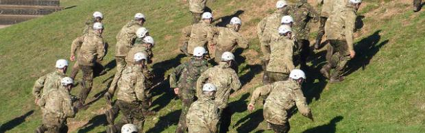 Students army training at Bournemouth & Poole College