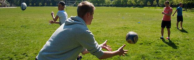 College students playing rugby