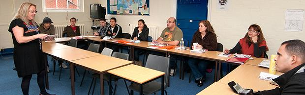 English students being taught in a classroom