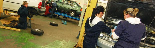 Students in the mechanic workshops