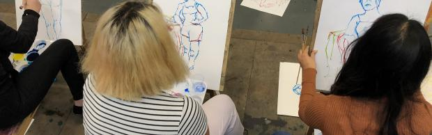 Students in art classroom at Bournemouth & Poole College