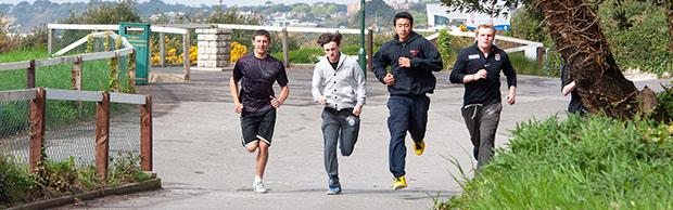 College students running