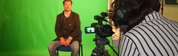 media students using the green screen